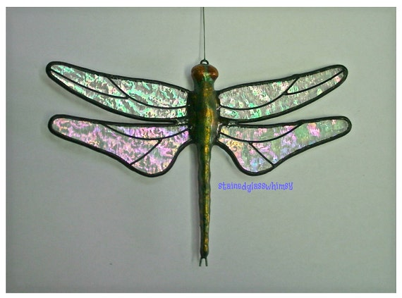 """Stained Glass DRAGONFLY Suncatcher, Clear Iridescent """"Granite"""" Wings & Handcast Metal Body, USA Handmade Original"""