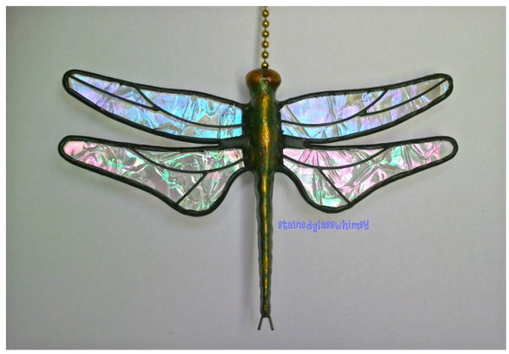 "Stained Glass Dragonfly FAN PULL Suncatcher - Clear Iridescent ""Krinkle"" Wings - Handcast Metal Body"