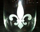 Set of 4 Fancy Fleur de Lis Stemless Wine Glass