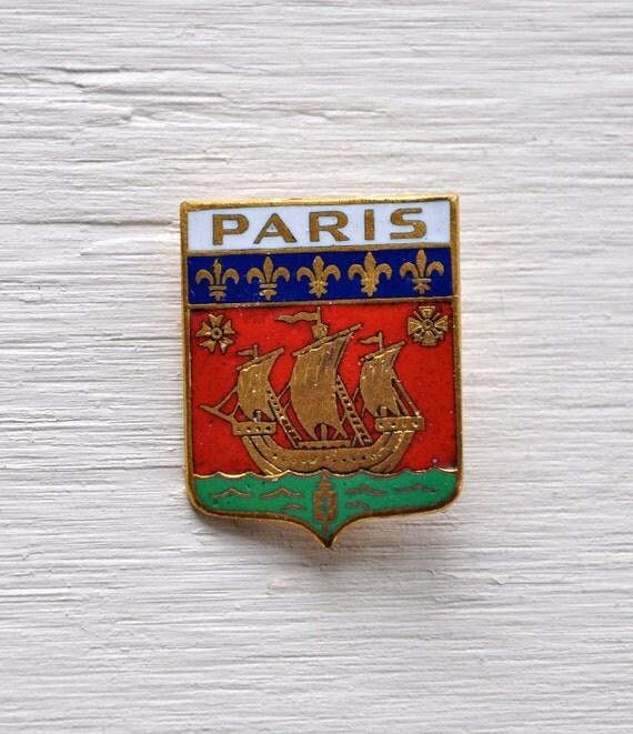 Vintage Coat of Arms PARIS Ship Lapel Pin