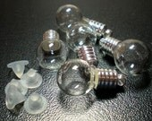 5 Tiny Glass Round Bulb shape bottle Vials with Silver Cap. Miniature, Tiny, Potion, Vial. DIY Pendant.