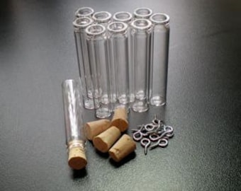 5 Tall Slim Glass Bottle Vial with Cork and loop. Miniature, Tiny, Potion, Vials. DIY Pendant. Item - 1260