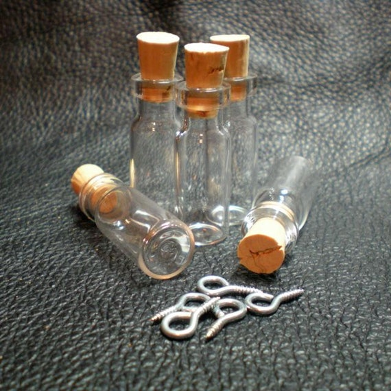 10 Tiny Slim Glass Bottles with Cork and loop. Miniature, Tiny, Potion, Vials. DIY Pendant. Item - 1232