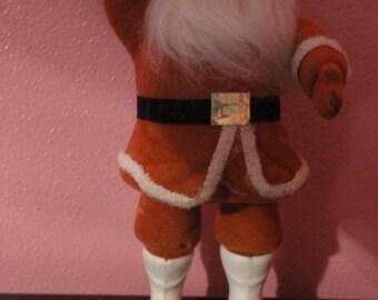 Flocked Santa Decoration Christmas Vintage