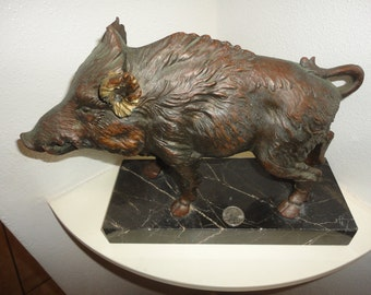Fine Artisan Bronze Boar Swine Sculpture on Marble Base Depose Italy