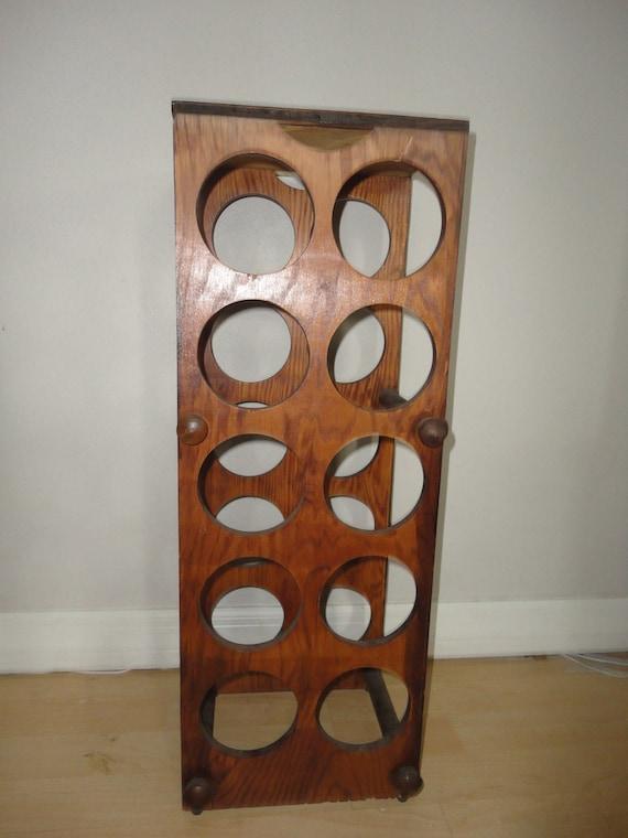 Vintage Hand Made Wood Wine Bottle Rack -Wine Bottle Shape Design - Holds 10 Bottles