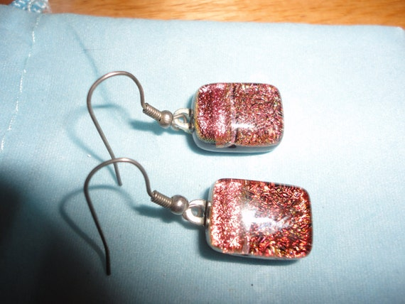 Handmade Recycled Dichroic Glass Earrings on Silver Hooks Orange Pink Red Gold