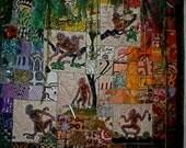 """Art Quilt """"Monkeys at Play"""" African Wall Quilt Art"""