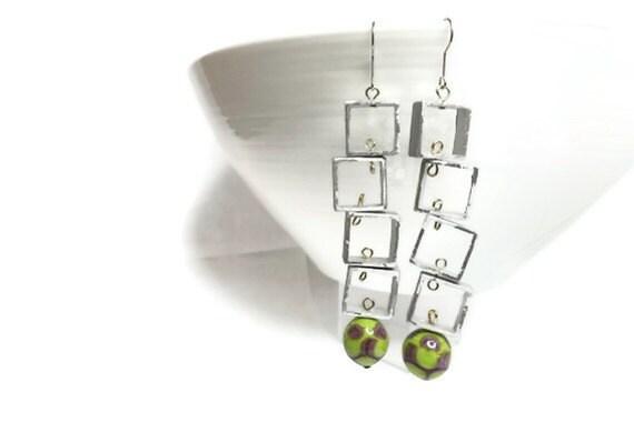 earrings purple green aluminium and lampwork beads