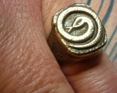 Rustic Bronze Snake Ring  Size 7 .Free Shipping In USA. Wax seal ring