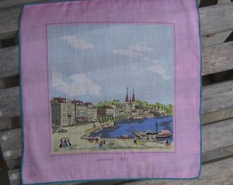 Signed Vintage Souvenir Switzerland Swiss Lucerne Luzern Handkerchief & Max Birnbaum Stoffels  Envelope