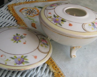 Nippon Hand-painted Hair Receiver Porcelain China