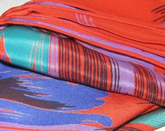 Large, Stunning Brushstroke 100% Silk Scarf, Hand-rolled Edges, Red Violet, Blue, Teal, Black