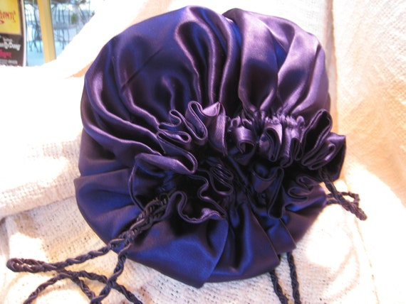 Purple Satin Drawstring Evening Bag