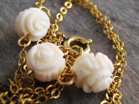Vintage Still-Tagged Danecraft Primavera Pre-Ban Ivory 12K 1/20 Gold-Filled Necklace