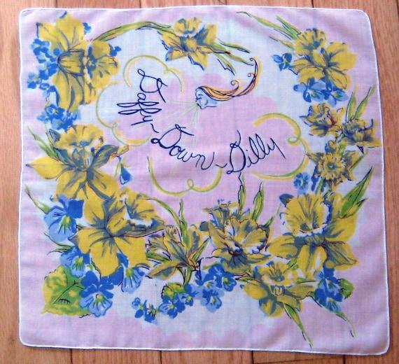 Vintage Daffy-Down-Dilly Hanky Handkerchief
