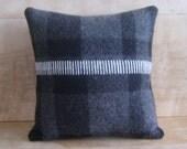 SALE - Pendleton Fabric Pillow, Gray/Black Plaid, 12x12