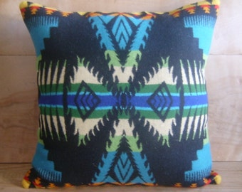 SALE Turquoise Geometric Wool Pillow, 16x16