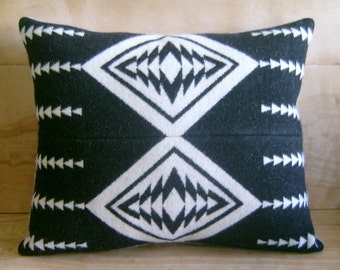 Wool Pillow - Made with Pendleton® Fabric - Native American Black White Geometric Tribal