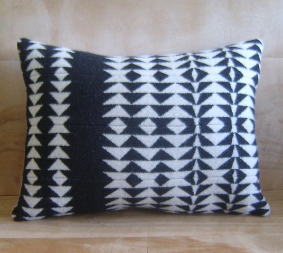 Wool Pillow - Black White Arrow - Native Geometric Tribal