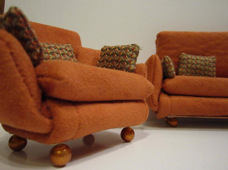 Burnt orange overstuffed livingroom set