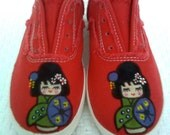 canvas shoe - kokeshi doll-  hand painted