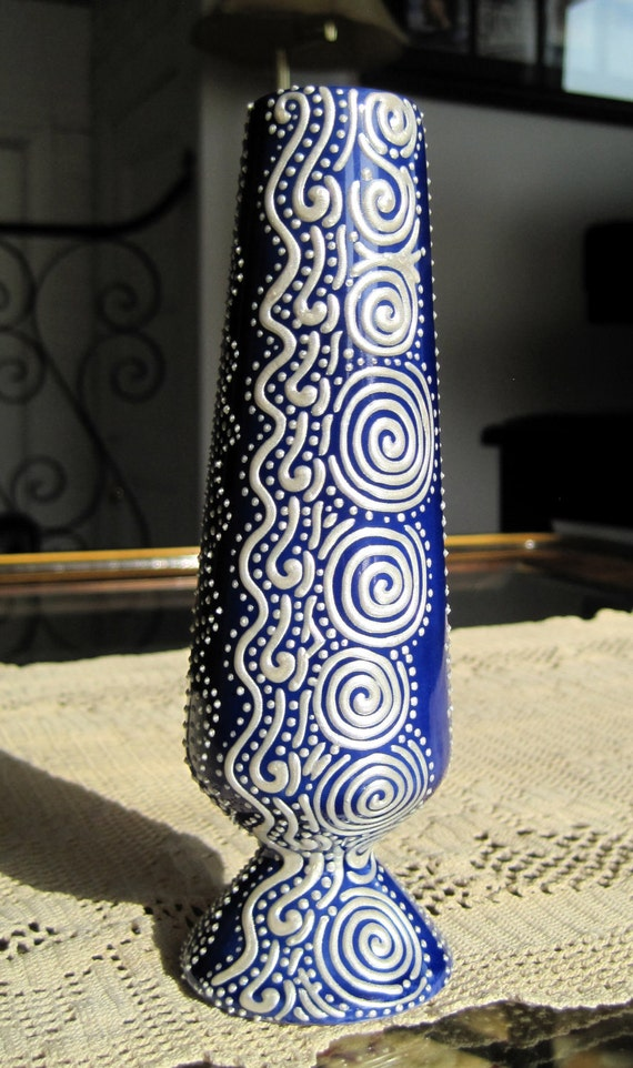 Decorative Bud Vase -- Royal Blue vase with intricate Pearl hand-painted design