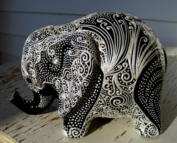Lucky Elephant Bank -- Pearl Design on Black Glaze -- Abstract tree on one side, part of the branch connects to the elephants eyelash