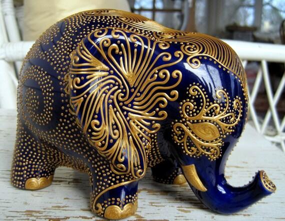 Lucky Elephant Bank Gold Design On Royal By Stephanieceramics