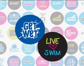 Love To Swim - 1.313 Inch Circle Digital Collage Sheet for Button Makers (Instant Download No. 1633)