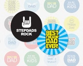 DAD AND STEPDAD - 1.313 Inch Circle Digital Collage Sheet for Button Makers (Instant Download No. 1247)