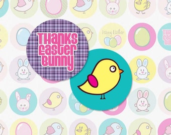 CUTE EASTER ANIMALS - 1 Inch Circle Digital Collage Sheet for Bottlecap Pendants, Magnets and More (Instant Download No. 252)