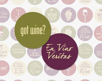 WINE LOVERS - 1 Inch Circle Digital Collage Sheet for Bottle Cap Pendants, Magnets, Scrapbooking and More (Instant Download No. 398)