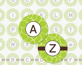 GREEN GIRAFFE ALPHABET - 1 Inch Circle Digital Collage Sheet for Pendants, Magnets and More (Instant Download No. 313)