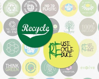 RECYCLE - 1 Inch Circle Digital Collage Sheet for Bottle Cap Pendants, Magnets, and More (Instant Download No.192)