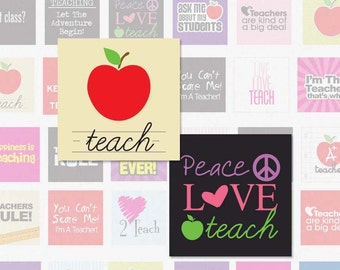 TEACHER - 1 Inch Square Digital Collage Sheet for Pendants, Magnets, and More (Instant Download No. 940)