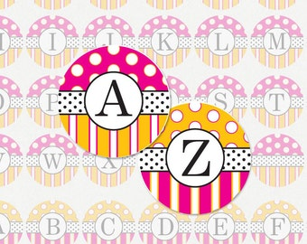 ALPHABET PINK and ORANGE Polka Dot and Stripe - 1 Inch Circle Collage Sheet for Pendants, Magnets and Much More (Instant Download No. 1121)