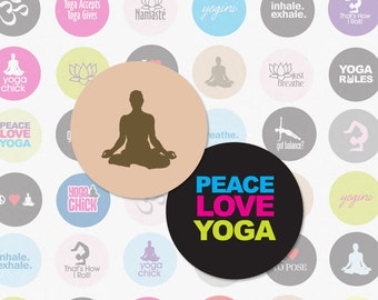 YOGA - 1.5 Inch Circle Digital Collage Sheet for Scrapbooking, Bottle Cap Pendants and More (Instant Download No. 1732)