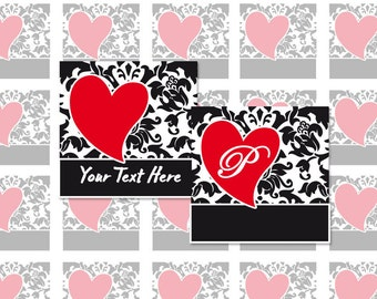 HEART DAMASK - 4x6 - 1.5 Inch Square Editable PDF Digital Collage Sheet for Pendants, Magnets and More (Instant Download No.1167)