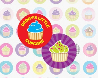 CUPCAKES - 1 Inch Circle Digital Collage Sheet for Pendants, Magnets and More (Instant Download No. 983)