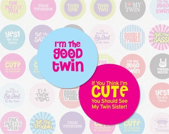 TWINS 1 Inch Digital Collage Sheet For Use In Scrapbooking, Cupbake Toppers, Pendants and More (Instant Download No. 1172)