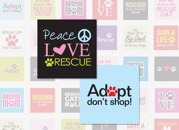 ANIMAL RESCUE - 1 Inch Square Digital Collage Sheet for Pendants, Magnets and More (Instant Download No. 1060)