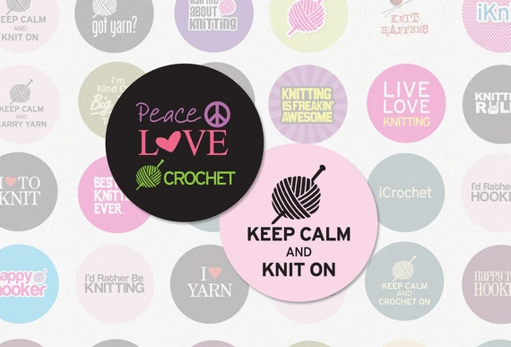 KNITTING AND CROCHETING - 1.313 Inch Circle Digital Collage Sheet for Button Makers No. 1246