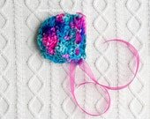 "OOAK NEWBORN ""Valley Girl"" Hot Pink and Aqua Bonnet  : Photography Prop or Everyday wear made with Handspun Merino Yarn and Magenta Ribbon"
