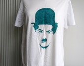 New Charlie Chaplin Hand Painted Tee for Men or Oversized T-shirt for Ladies, Size M,