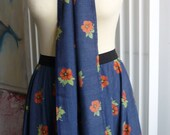 Holiday Season SALE -  Unique Hand Made a Full Circle Skirt with a Matching Belt. 50s Retro Style, Made from a Vintage Fabric,