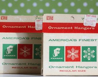 Vintage Ornament Hanger Hooks Small Box Red White Green Christmas
