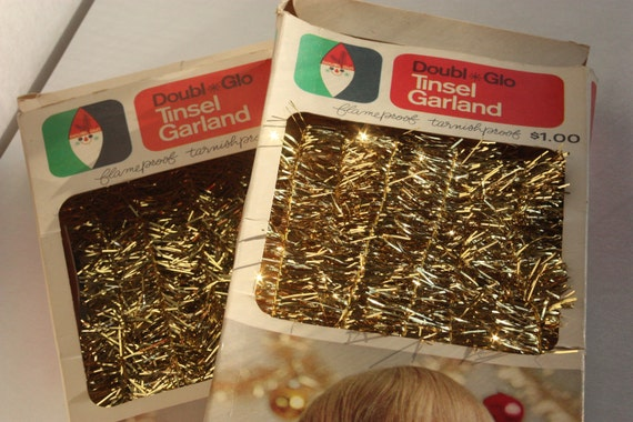 Vintage Garland Tinsel Doubl Glo Christmas Kitsch 2 Boxes Gold