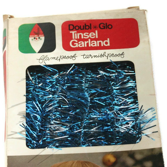 RESERVED Vintage Garland Tinsel Doubl Glo Christmas Kitsch 1 Box Blue Silver