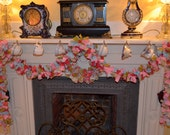 Spring rag garland - blue, pink and green with roses